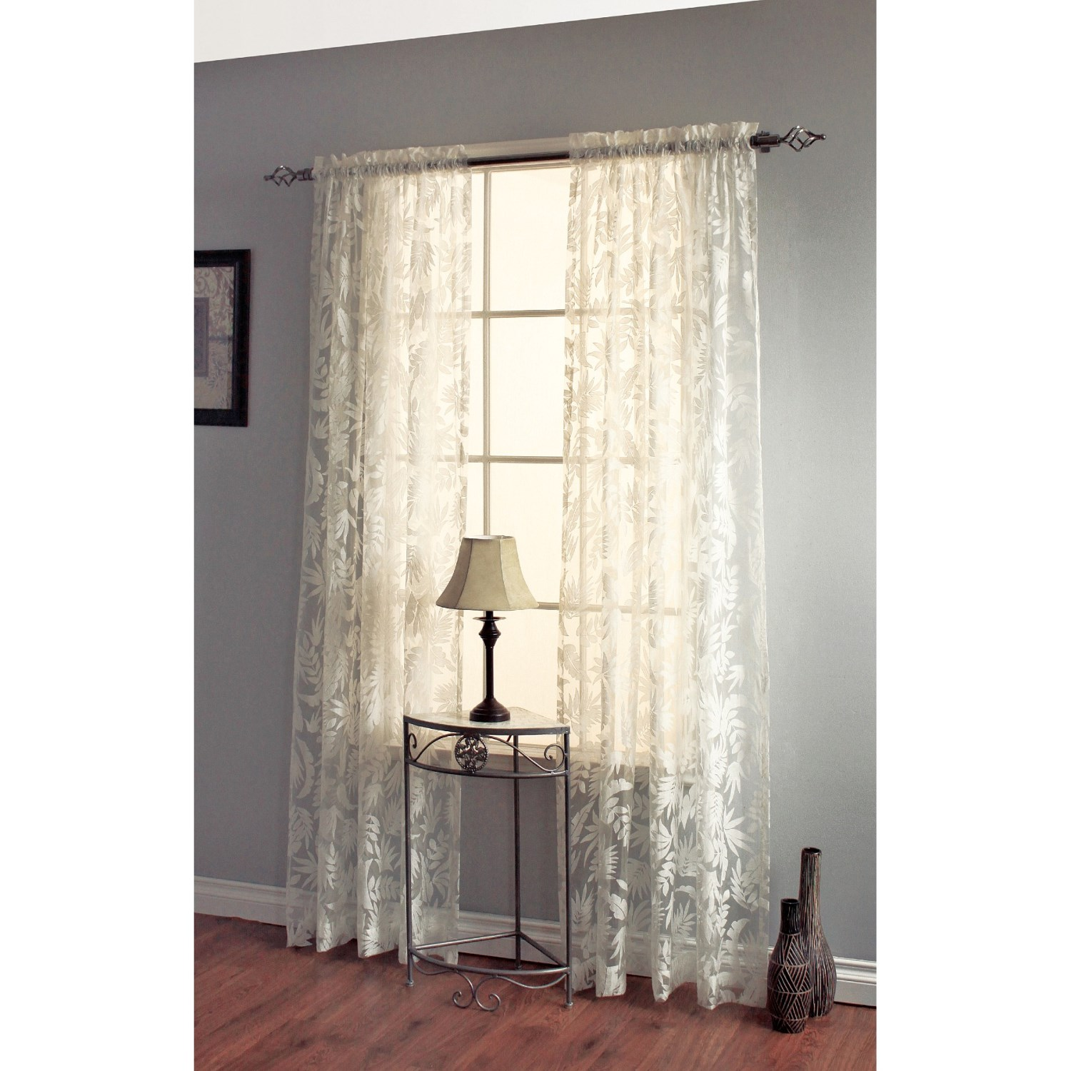 decor premier leaves botanical burnout sheer curtains 84 rod pocket 4322t save 42. Black Bedroom Furniture Sets. Home Design Ideas