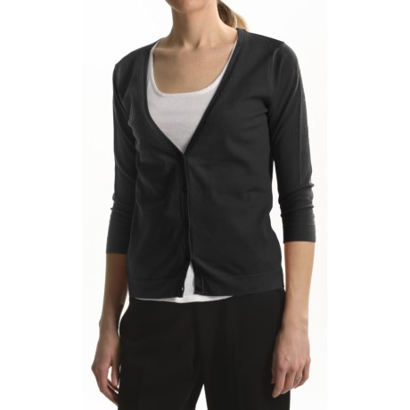 August Silk Contemporary Cut Cardigan Sweater - 3/4 Sleeve (For Women)