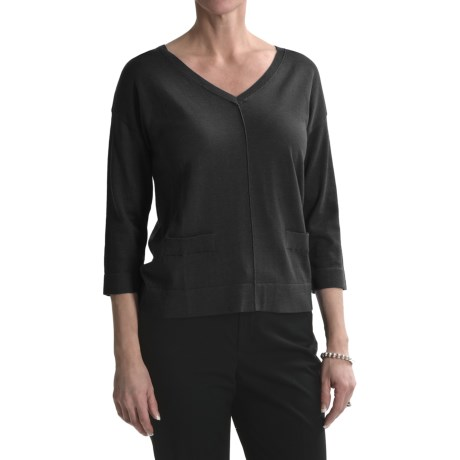 August Silk Back Button Sweater - 3/4 Sleeve (For Women)