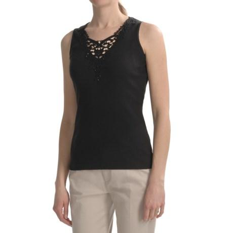 August Silk 2x2 Rib Cotton Tank Top - Crochet Applique (For Women)