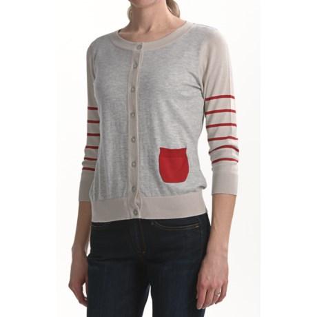 August Silk Striped Sleeve Cardigan Sweater - 3/4 Sleeve (For Women)