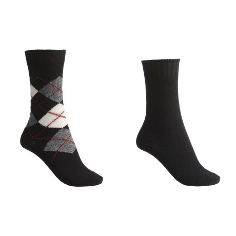 b.ella Argyle-Solid Socks - Wool-Cashmere Blend, 2-Pack (For Women)