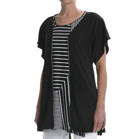 Joan Vass Light Knit Tunic Shirt - Zip Front, Short Sleeve (For Women)