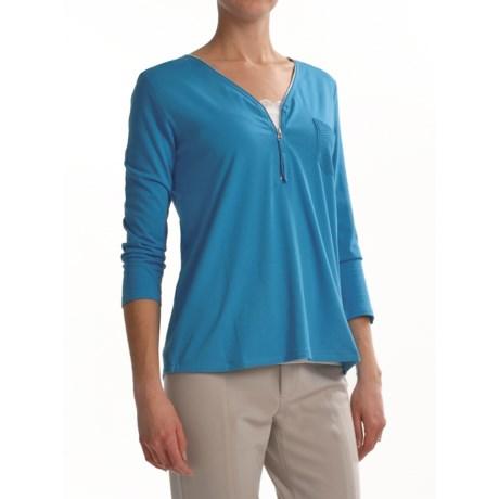 Joan Vass Zip Shirt - 3/4 Sleeve (For Women)