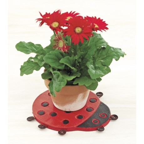 Ancient Graffiti Ceramic Ladybug Plant Trivet - Set of 4