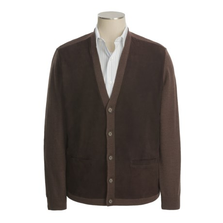 Hickey Freeman Cardigan Sweater - Merino Wool-Suede (For Men)