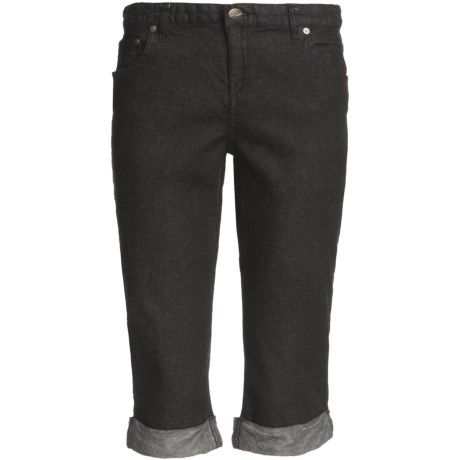 Cuffed Denim Capris - Stretch Cotton (For Women)
