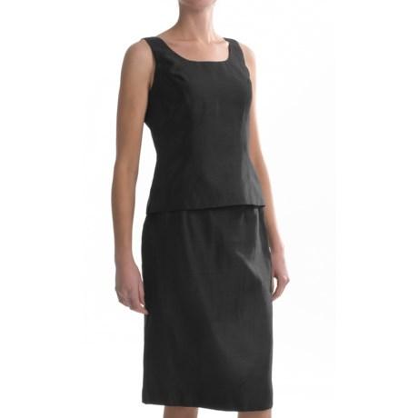 Shantung Sleeveless Shirt and Skirt Set - 2-Piece (For Women)