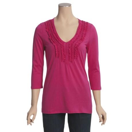 Cotton Ruffled V-Neck Shirt - 3/4 Sleeve (For Women)