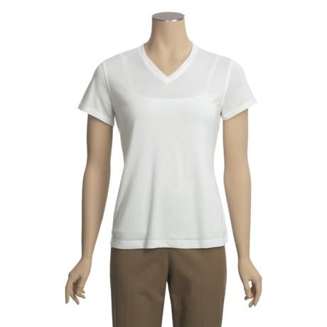 Knit V-Neck Shirt - Short Sleeve (For Women)
