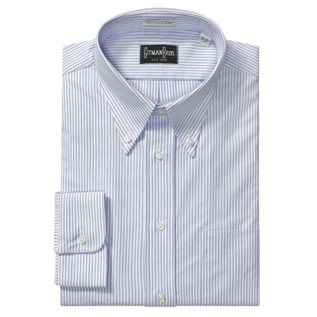 Gitman Brothers Cambridge Oxford Stripe Dress Shirt - Long Sleeve (For Tall Men)