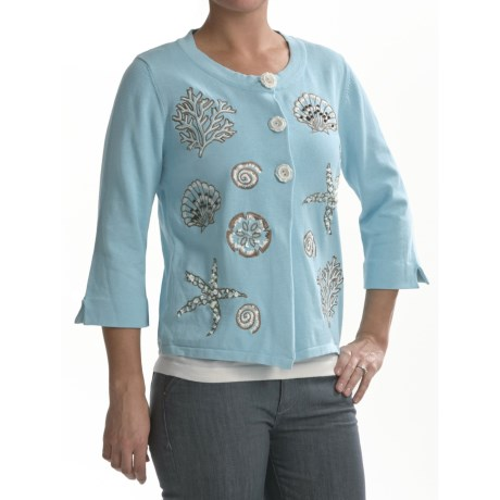 Timberlea Seashell Cardigan Sweater - Cotton, 3/4 Sleeve (For Women)