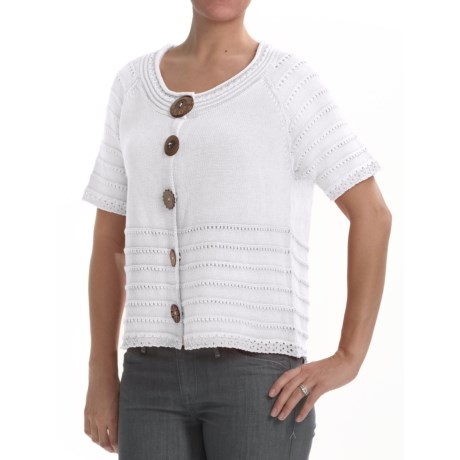 PBJ Blues Colette Cardigan Sweater - Ramie-Cotton, Short Sleeve (For Women)