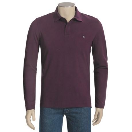 Victorinox Swiss Army Stretch Pima Cotton Polo Shirt - Zip Neck, Long Sleeve (For Men)