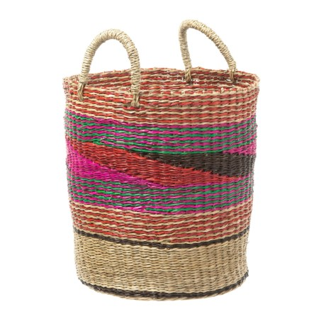 "UMA Mosaic Seagrass Storage Basket - 17"""