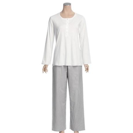 Calida Turtle Bay Cotton Pajamas - Knit Top, Woven Bottoms, Long Sleeve (For Women)