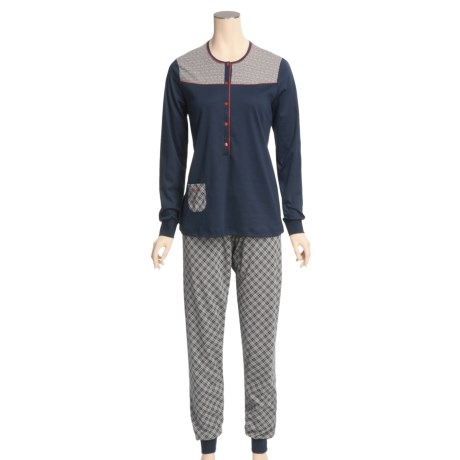 Calida Happy Day Cuffed Pajamas - Swiss Cotton, Long Sleeve (For Women)