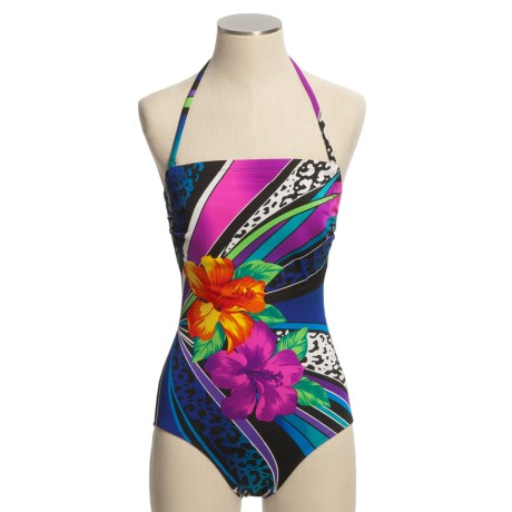 Longitude Halter Swimsuit - 1-Piece, Removable Strap (For Women)