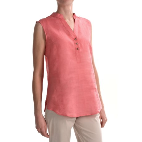Foxcroft Pinpoint Linen Shaped Shirt - Sleeveless (For Women)