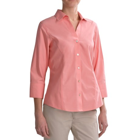 Foxcroft No-Iron Pinpoint Cotton Shirt - 3/4 Sleeve (For Women)