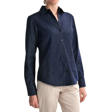 Foxcroft Thyme (x) 2 Lightweight Denim Panel Shirt - Long Sleeve (For Women)