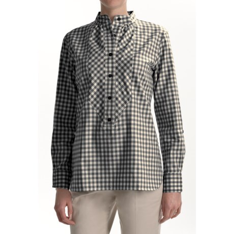 Thyme (x) 2 Cotton Gingham Bib Shirt - Long Sleeve (For Women)