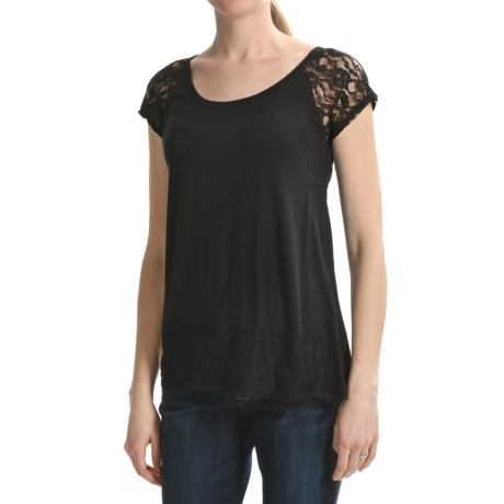 August Silk Lace Trim Shirt - Short Sleeve (For Women)