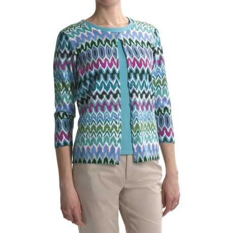 August Silk Printed Cardigan Sweater - 3/4 Sleeve (For Women)