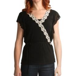 August Silk Faux Wrap Shirt - Lace Trim, Short Sleeve (For Women)