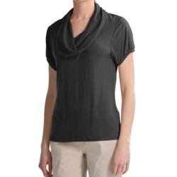 August Silk Cowl Neck Shirt - Short Sleeve (For Women)