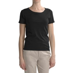 August Silk Round Neck T-Shirt - Short Sleeve (For Women)