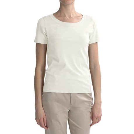 August Silk Round Neck T-Shirt - Short Sleeve (For Women)