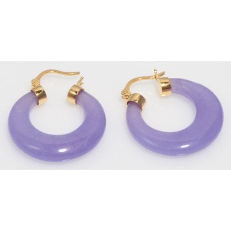 Gemstar Dyed Lavender Quartz Hoop Earrings