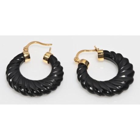 Gemstar Carved Agate Earrings