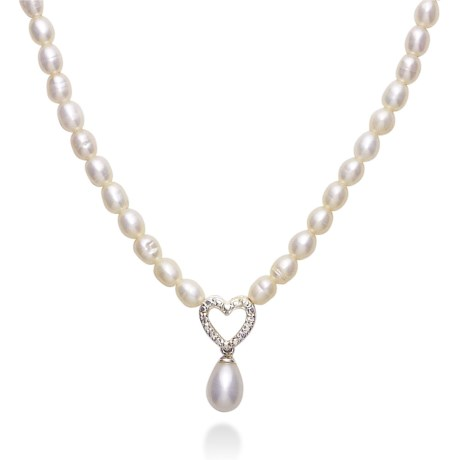 Gemstar Freshwater Pearl and CZ Heart Necklace - 18""