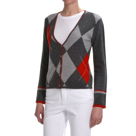 Lauren Hansen Cashmere Argyle Cardigan Sweater - Crop (For Women)