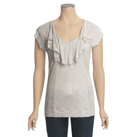 Ruffled Shadow Stripe Knit Shirt - Short Sleeve (For Women)