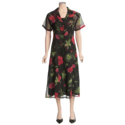 Floral Chiffon Sheath Dress with Overlay - Short Sleeve (For Women)