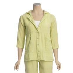 Pulp Linen Hoodie Jacket - 3/4 Sleeve (For Women)