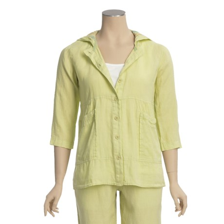 Pulp Linen Hoodie Jacket - 3/4 Sleeve (For Women)