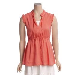 Pulp Ruffle Trim Linen Shirt - Sleeveless (For Women)