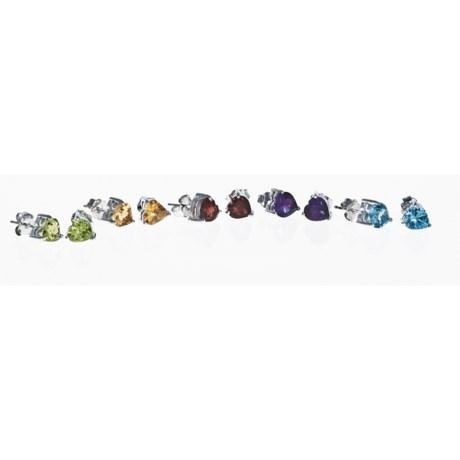 Millennium Creations Heart Stud Earrings - Boxed Set of 5, Semi-Precious Stone