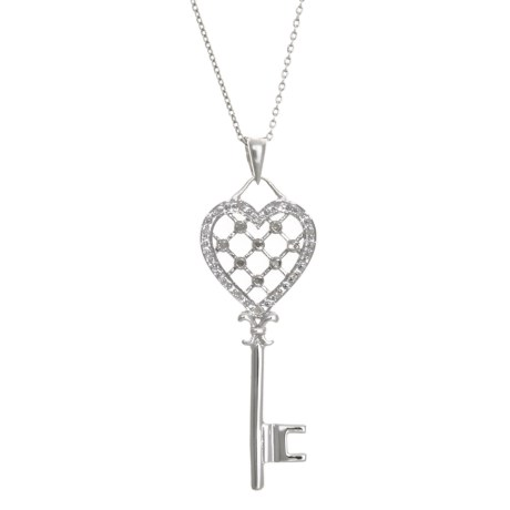 Millennium Creations Sterling Silver Key Necklace - 18""