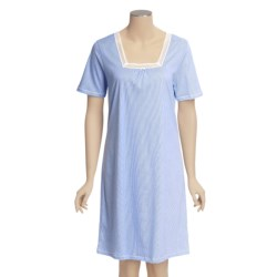 Calida Portofino Night Gown - Interlock Cotton, Short Sleeve (For Women)