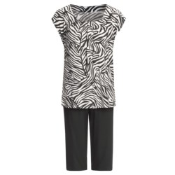 Calida Wave Capri Pajamas - Stretch Micromodal® Jersey, Short Sleeve (For Women)