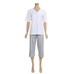 Calida Turtle Bay Capri Pajamas - Interlock Cotton, Short Sleeve (For Women)