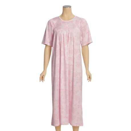 Calida Gathered Neck Nightgown - Interlock Cotton, Short  Sleeve (For Women)