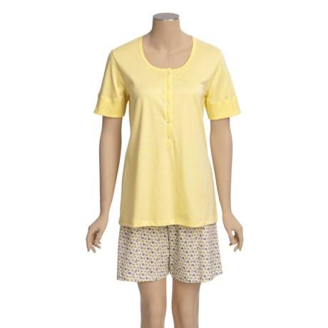 Calida Spring Short Pajamas - Interlock Cotton, Short Sleeve (For Women)