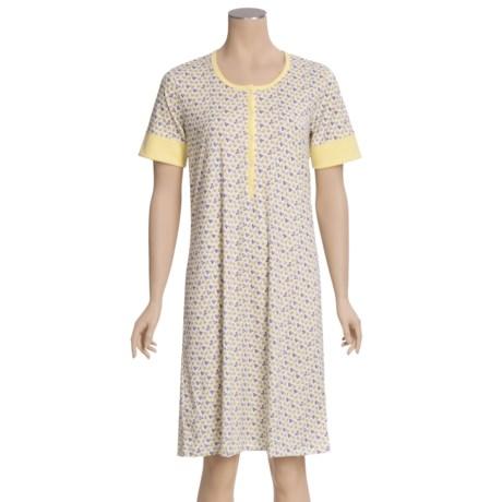 Calida Spring Nightshirt - Cotton Interlock, Short Sleeve (For Women)