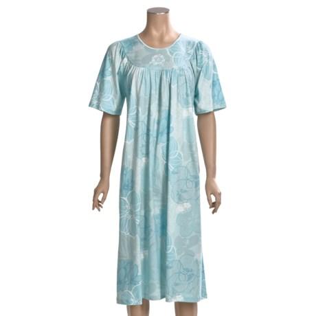 Calida Soft Cotton Nightgown - Interlock Cotton, Satin Trim, Short Sleeve (For Women)